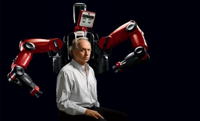 Le robot Baxter et son créateur Rodney Brooks.