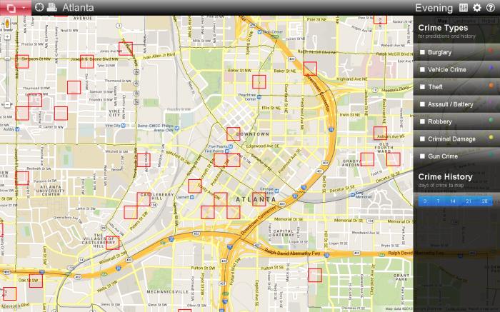 PredPol est un système développé aux Etats-Unis, basé sur des algorithmes. Sa mission est de prédire les crimes. Ce programme se présente sous la forme d'une carte, actualisée en permanence, qui existe en version mobile, pour smartphone et tablette. Les policiers se rendent alors sur les scènes de crimes… avant qu'ils ne soient commis.