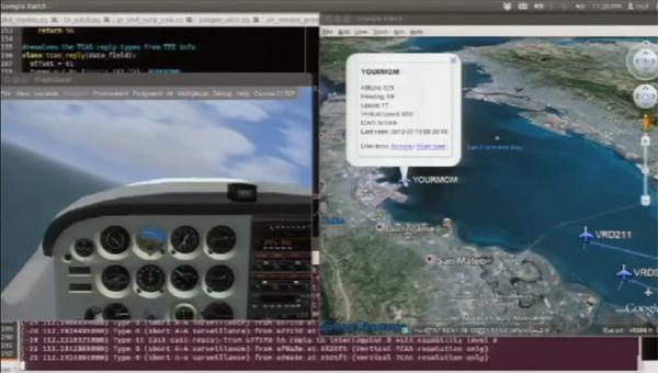 Capture d'écran extraite d'une conférence au Defcon 20 sur l'attaque ADS-B