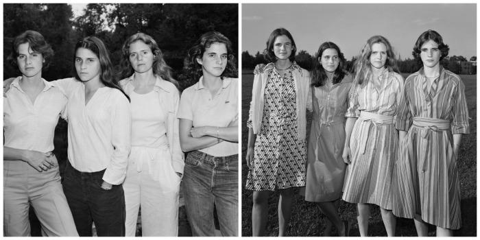A gauche, la première image prise en 1975 1975 puis celle de lannée suivante en 1976  (Crédit Images :  © Nicholas Nixon / © Courtesy Fraenkel Gallery, San Francisco, © Courtesy Pace/McGill, New York et © Courtesy Galerie Eric Dupont, Paris)